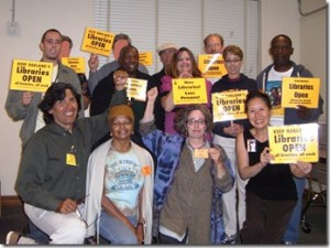 Teresa LeYung Ryan and fellow library advocates show up at Save-the-Libraries meetings