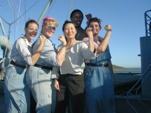 Teresa LeYung Ryan with cast members of Rivets