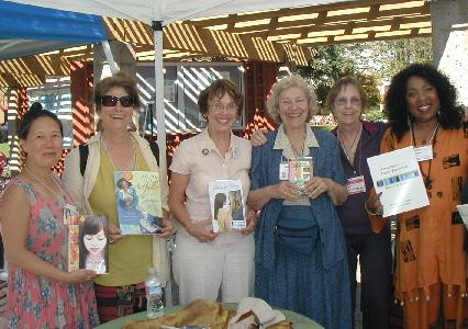 Teresa LeYung Ryan, Amy Gorman, Kate Farrell, Rita Lakin, Pat Windom, Marcia Canton having fun together at Sonoma County Book Festival
