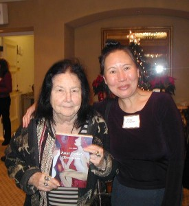 Joyce Robins shows off new book Aunt Lydia's Trousseau, Teresa LeYung Ryan cheers for her