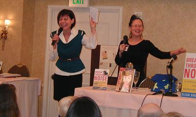 Talking Tagline Coach Elisa Southard & Writing Career Coach Teresa and audience having fun at San Francisco Writers Conference