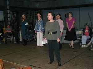 "Teresa LeYung Ryan rehearsing lines in ""A Teenage Girl's Guide to Surviving Sex Slavery"" in The Vagina Monologues"