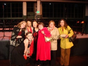 post performance--Caitlin in front & Leslie, Amira, Teresa LeYung Ryan, Lakshmi Kerner,Mary Knippel, and friend