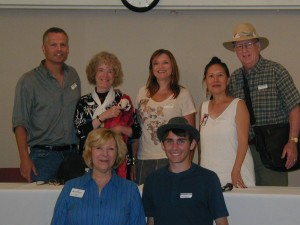front Gail, Nathan+back row authors Jeff, Laurel, Tanya, Teresa, Jack speak at No CA Storybook & Literature Festival