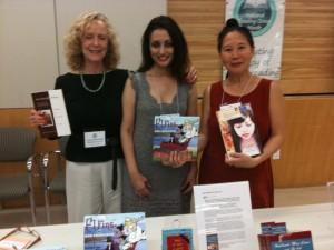 WNBA authors Lynn Henriksen (how to write memoirs), Sarbjit Rai (children's books), Teresa LeYung Ryan (how to build writer's platform; women's fiction) welcome everyone at Publishing Panel