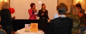 Elisa Sasa Southard and Teresa LeYung-Ryan say Help yourself by helping other writers--photo by Tessa Bertoldi
