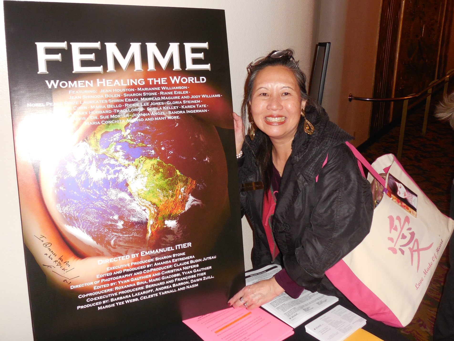 Teresa LeYung-Ryan with her trademark Love Made of Heart tote