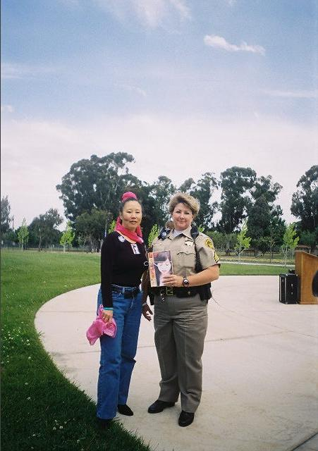 author Teresa LeYung Ryan honors Sergeant Sandra Douglas & Denim Day Sexual Assualt Awareness & Prevention Month
